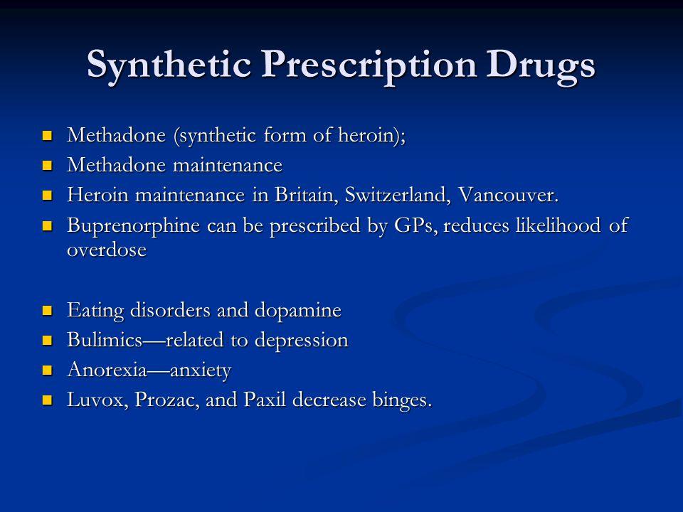 Synthetic Prescription Drugs Methadone (synthetic form of heroin); Methadone (synthetic form of heroin); Methadone maintenance Methadone maintenance H