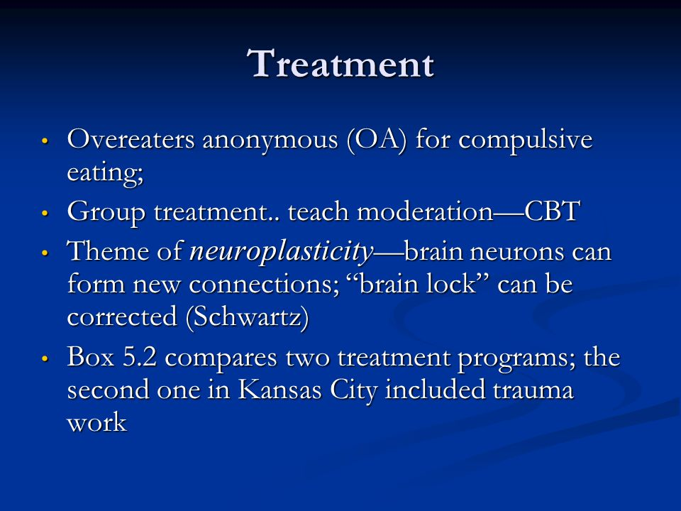 Treatment Overeaters anonymous (OA) for compulsive eating; Overeaters anonymous (OA) for compulsive eating; Group treatment.. teach moderationCBT Grou