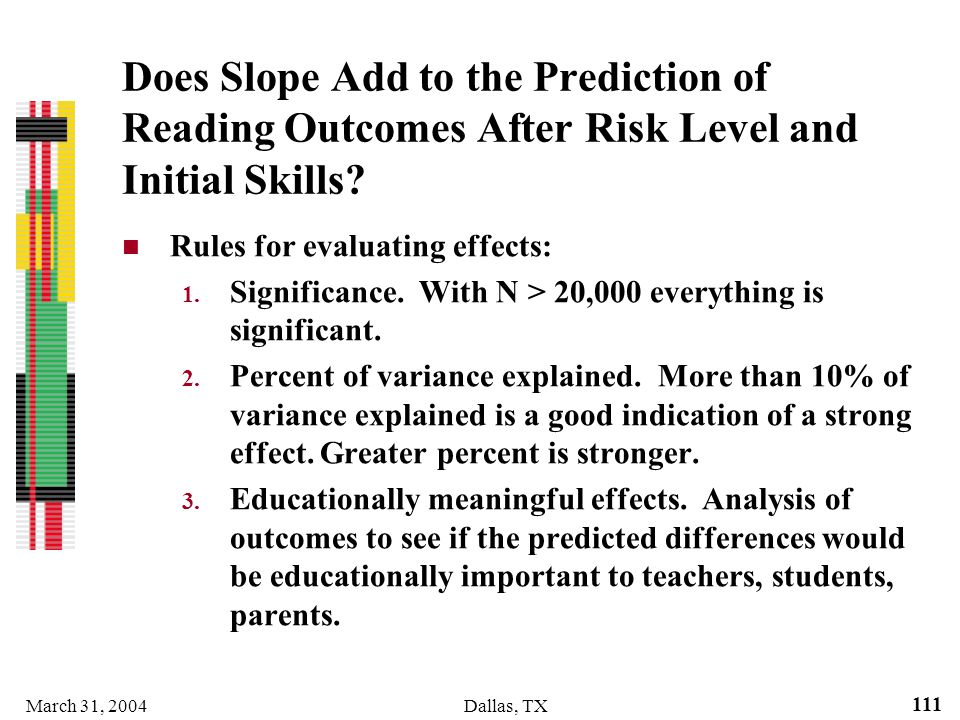 March 31, 2004Dallas, TX 111 Does Slope Add to the Prediction of Reading Outcomes After Risk Level and Initial Skills? Rules for evaluating effects: 1