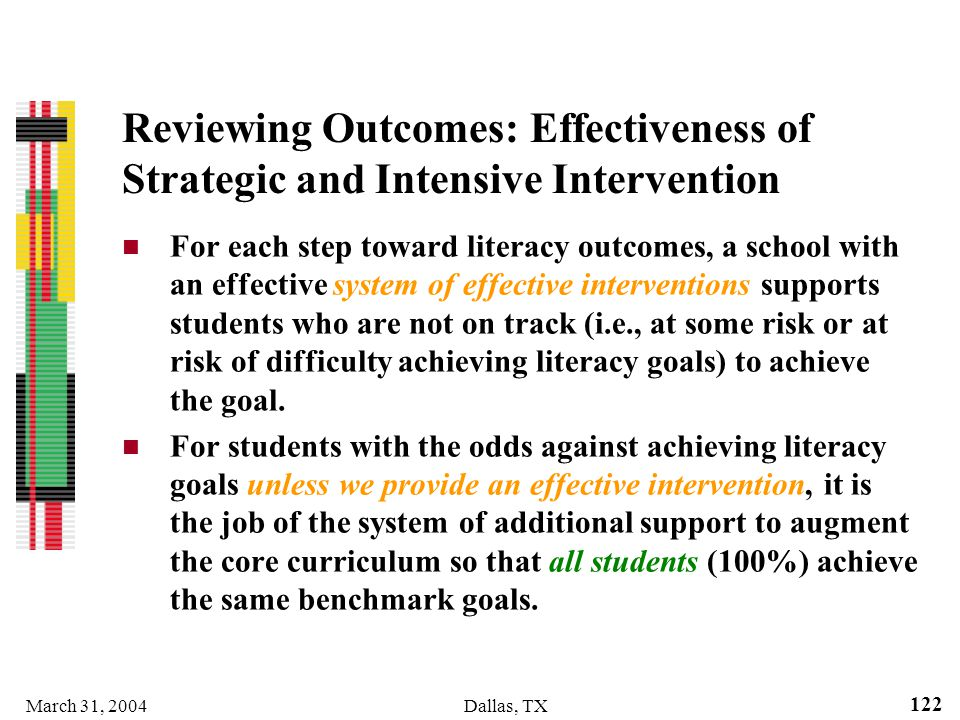 March 31, 2004Dallas, TX 122 Reviewing Outcomes: Effectiveness of Strategic and Intensive Intervention For each step toward literacy outcomes, a schoo