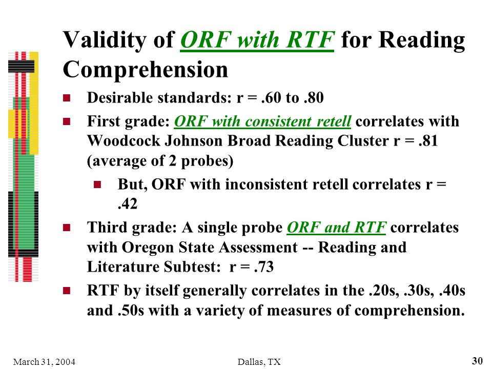March 31, 2004Dallas, TX 30 Validity of ORF with RTF for Reading Comprehension Desirable standards: r =.60 to.80 First grade: ORF with consistent rete