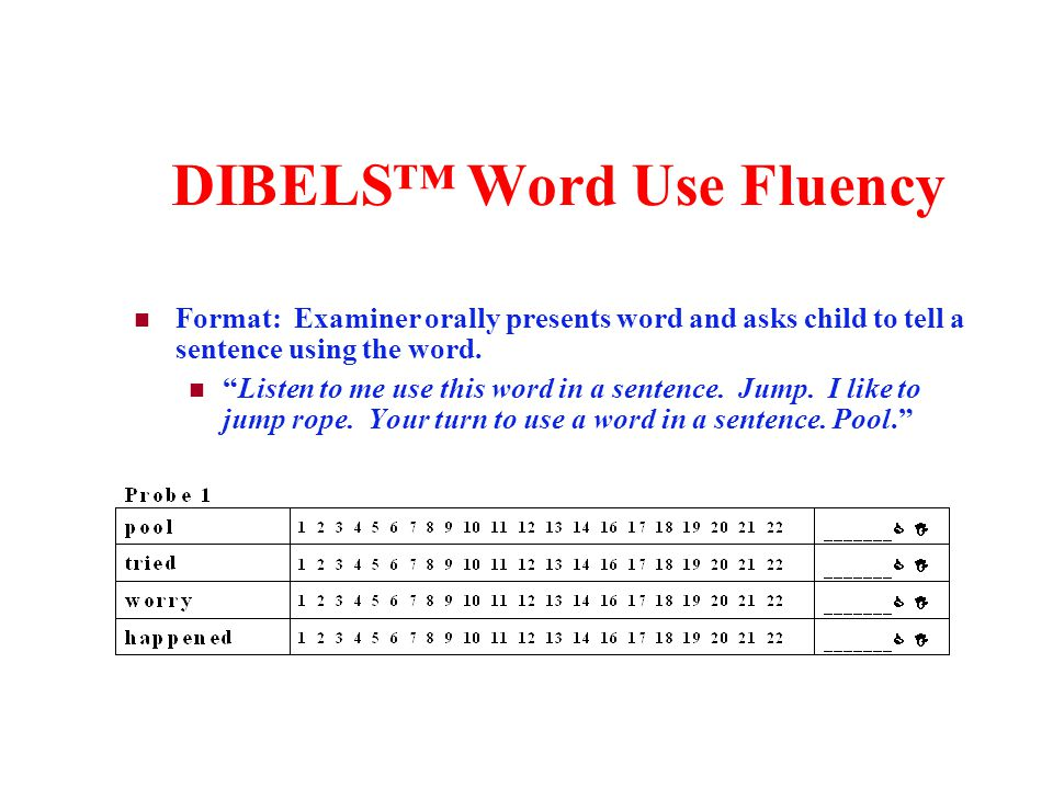 DIBELS Word Use Fluency Format: Examiner orally presents word and asks child to tell a sentence using the word. Listen to me use this word in a senten