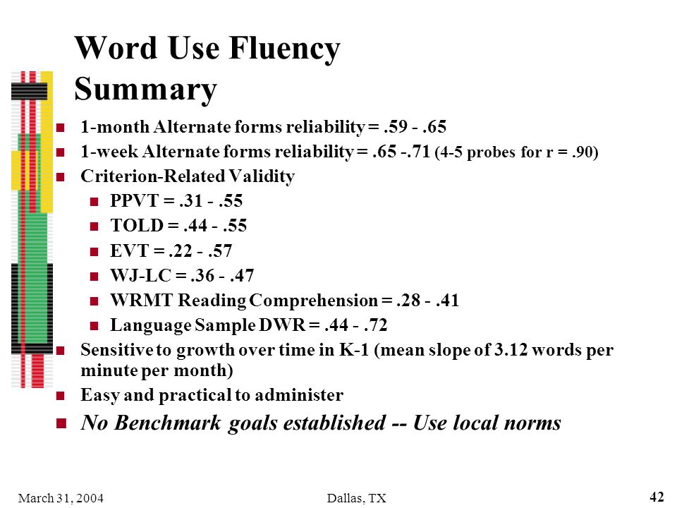 March 31, 2004Dallas, TX 42 Word Use Fluency Summary 1-month Alternate forms reliability =.59 -.65 1-week Alternate forms reliability =.65 -.71 (4-5 p