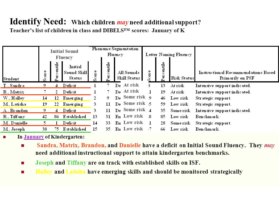 Identify Need: Which children may need additional support? Teachers list of children in class and DIBELS scores: January of K In January of Kindergart