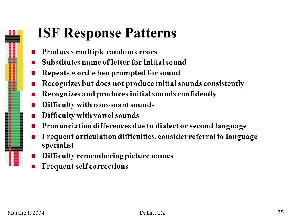 March 31, 2004Dallas, TX 75 ISF Response Patterns Produces multiple random errors Substitutes name of letter for initial sound Repeats word when promp