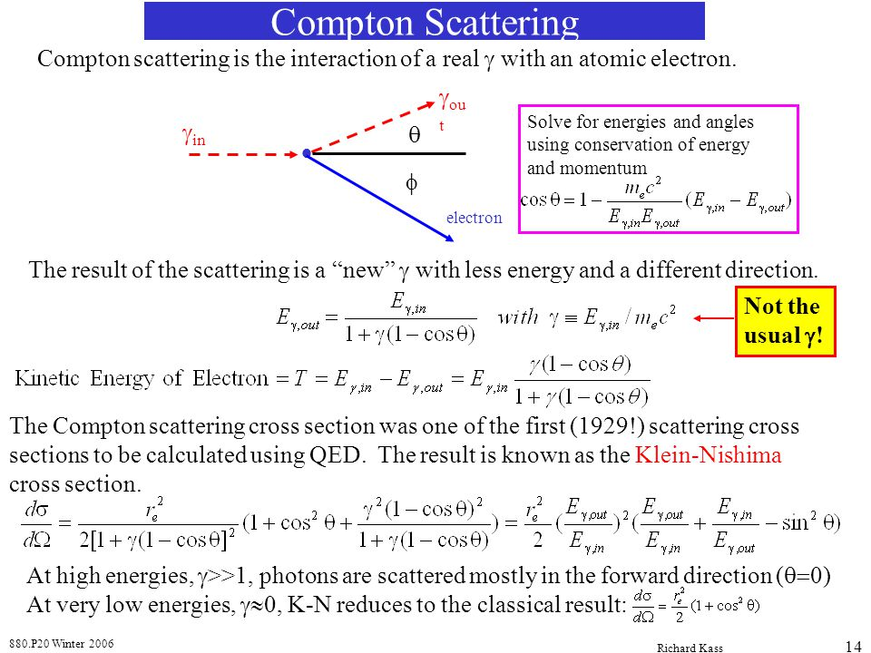 880.P20 Winter 2006 Richard Kass 14 Compton Scattering Compton scattering is the interaction of a real with an atomic electron. in ou t electron The r