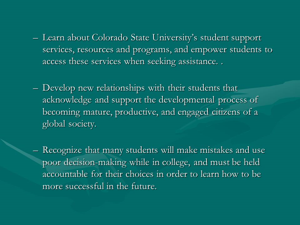 –Learn about Colorado State Universitys student support services, resources and programs, and empower students to access these services when seeking a