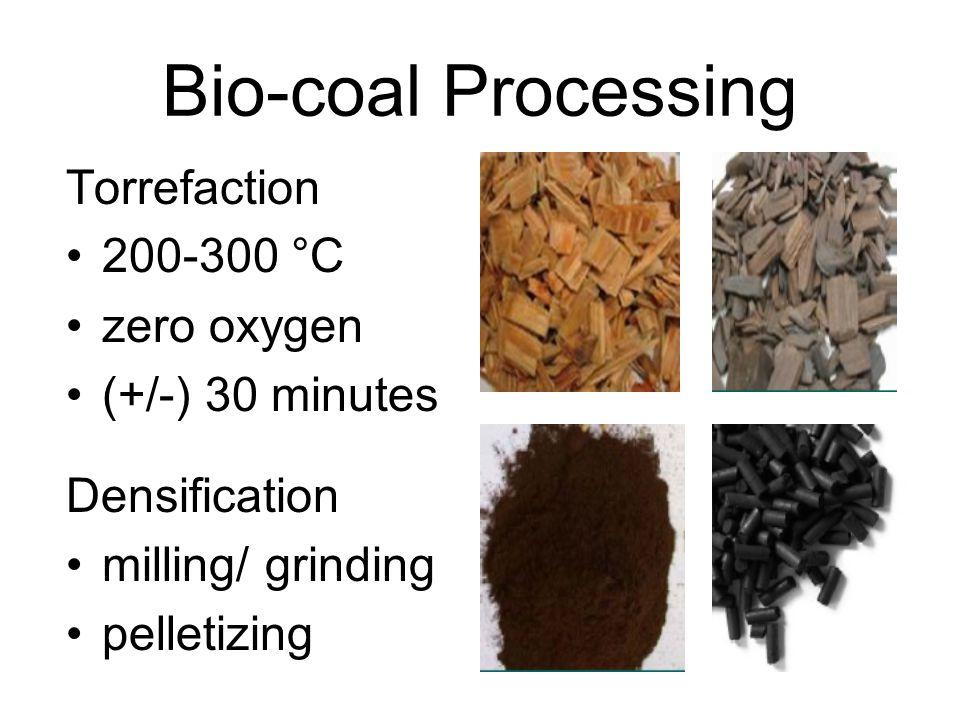Bio-coal Processing Torrefaction 200-300 °C zero oxygen (+/-) 30 minutes Densification milling/ grinding pelletizing