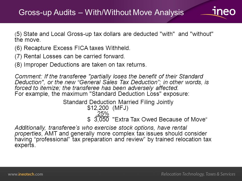 ( 5) State and Local Gross-up tax dollars are deducted with and without the move.