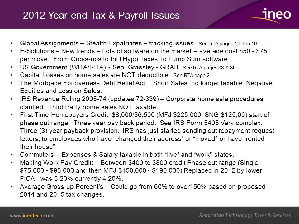 2012 Year-end Tax & Payroll Issues Global Assignments – Stealth Expatriates – tracking issues.