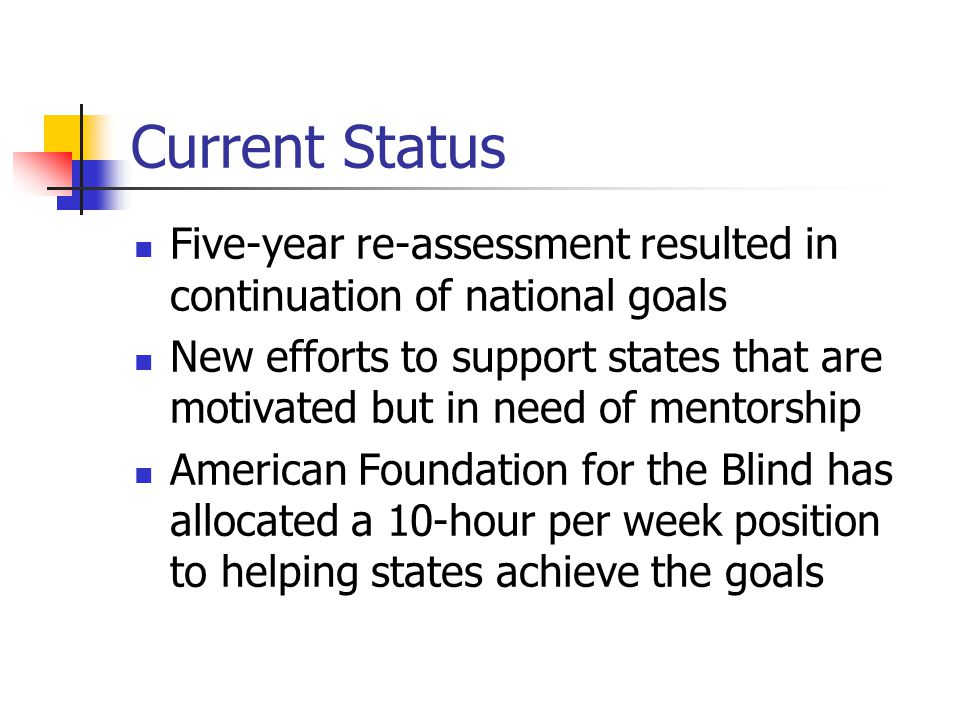 Current Status Five-year re-assessment resulted in continuation of national goals New efforts to support states that are motivated but in need of mentorship American Foundation for the Blind has allocated a 10-hour per week position to helping states achieve the goals