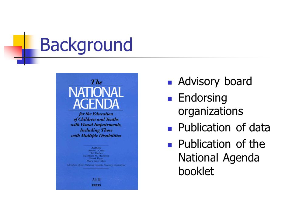 Eight Goals of the Agenda Goal 1: Early referral Goal 2: Parent participation Goal 3: Professional personnel Goal 4: Caseloads