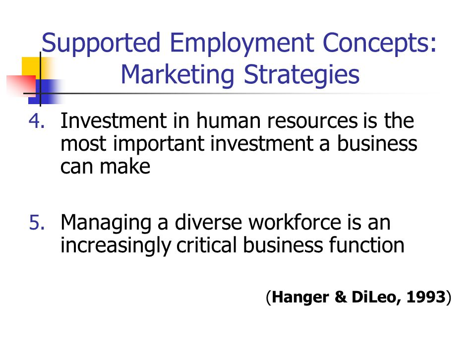 Supported Employment Concepts: Marketing Strategies 4. Investment in human resources is the most important investment a business can make 5. Managing