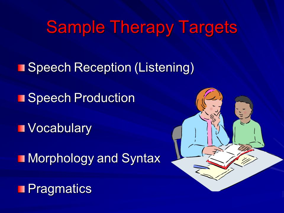 Sample Therapy Targets Speech Reception (Listening) Speech Production Vocabulary Morphology and Syntax Pragmatics