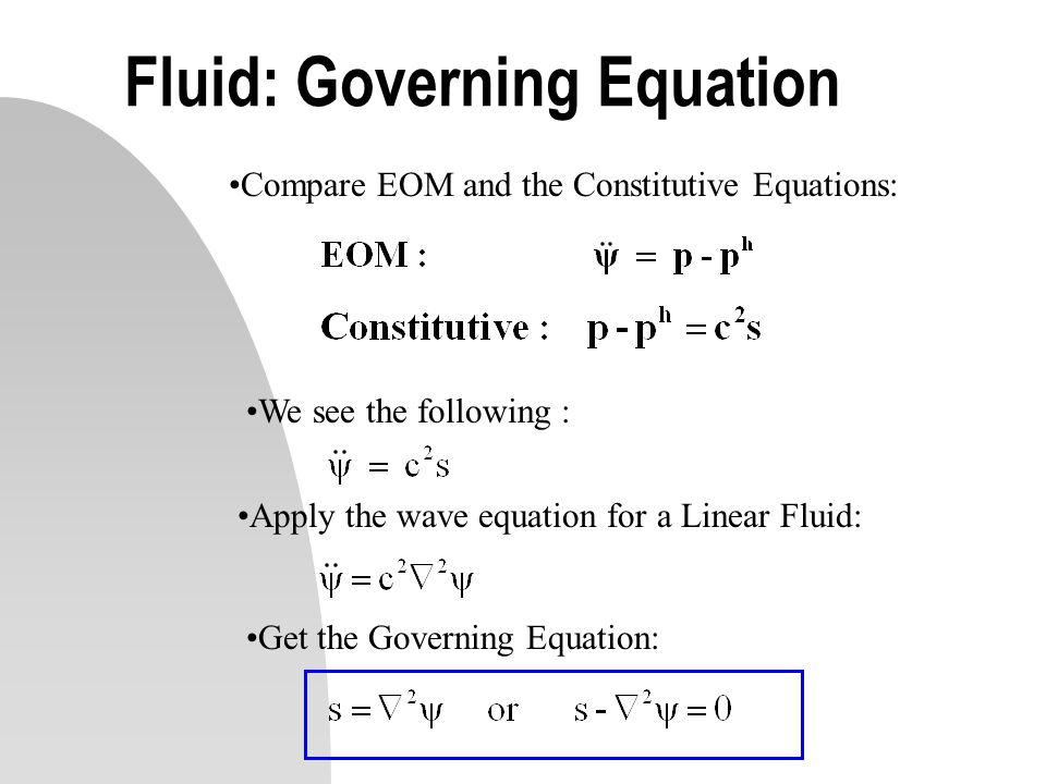 Fluid: Governing Equation Compare EOM and the Constitutive Equations: We see the following : Apply the wave equation for a Linear Fluid: Get the Gover
