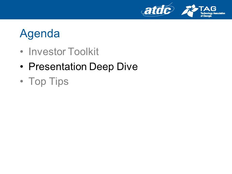 Agenda Investor Toolkit Presentation Deep Dive Top Tips