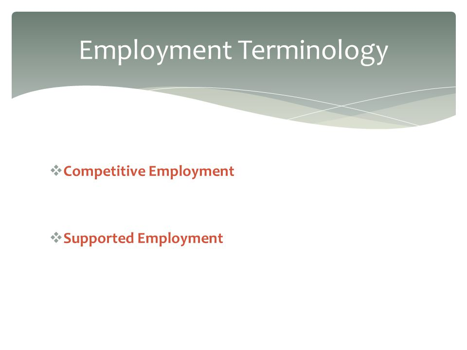 Competitive Employment Supported Employment Employment Terminology