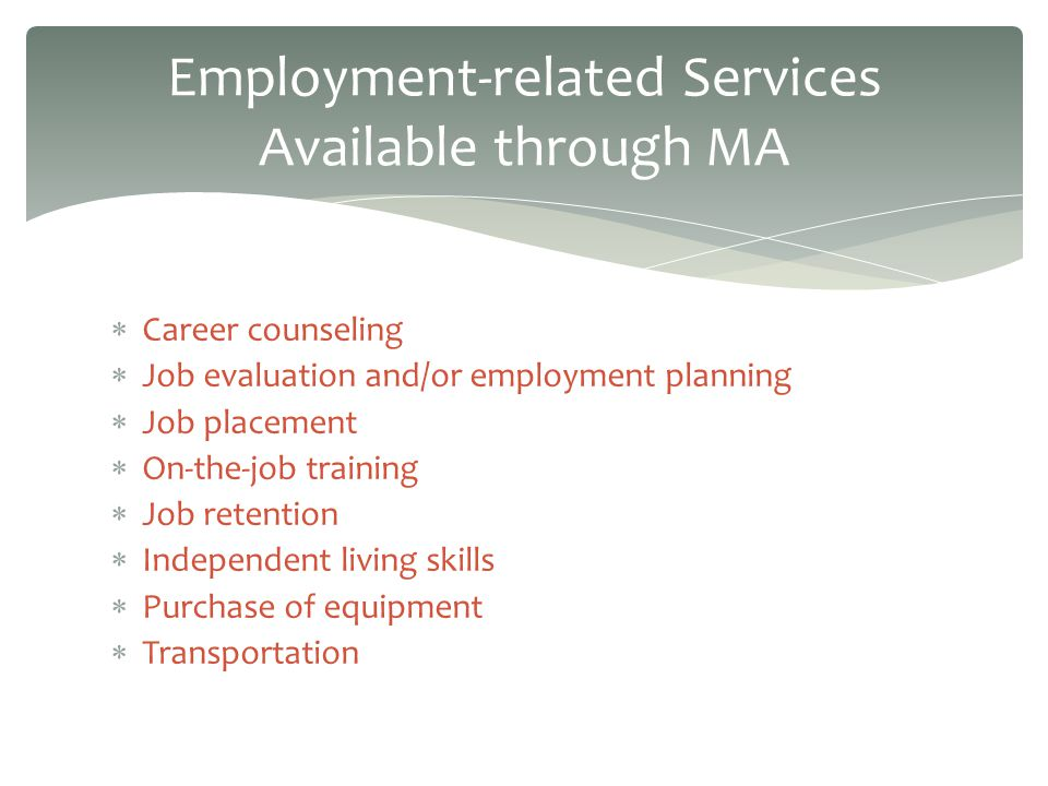 Career counseling Job evaluation and/or employment planning Job placement On-the-job training Job retention Independent living skills Purchase of equipment Transportation Employment-related Services Available through MA