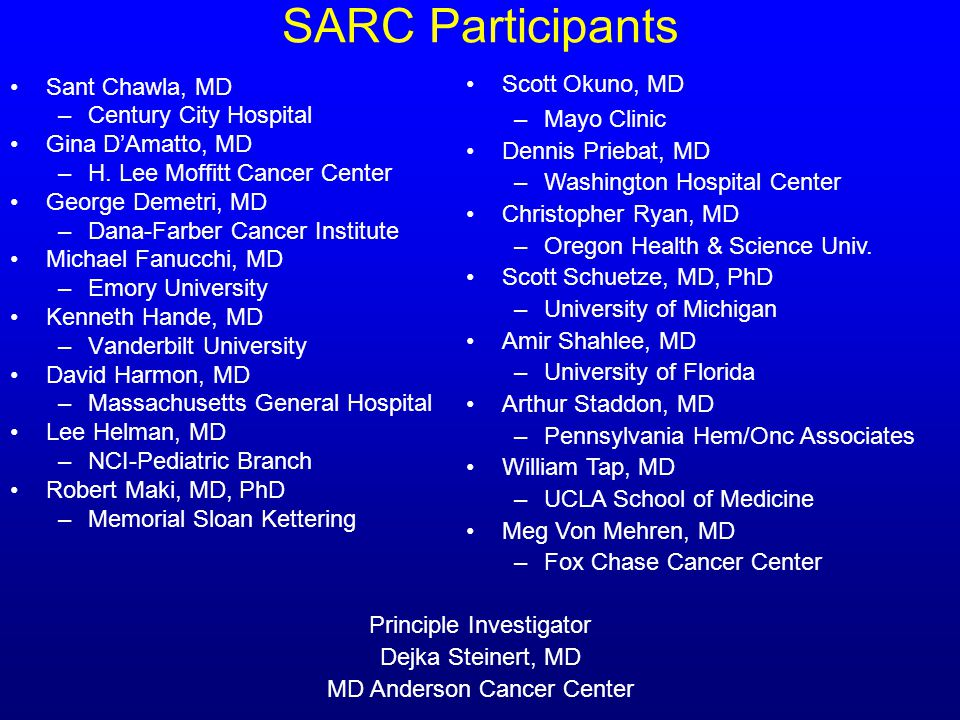 SARC Participants Sant Chawla, MD –Century City Hospital Gina DAmatto, MD –H. Lee Moffitt Cancer Center George Demetri, MD –Dana-Farber Cancer Institu