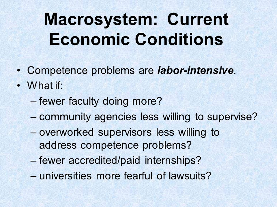 Macrosystem: Current Economic Conditions Competence problems are labor-intensive.