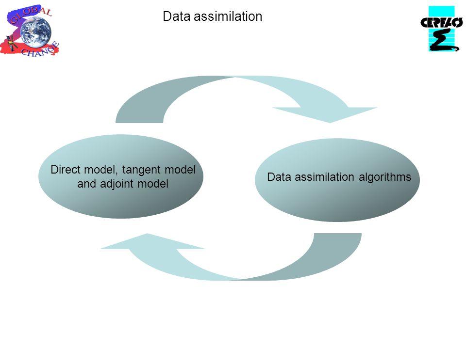 Data assimilation algorithms Direct model, tangent model and adjoint model Data assimilation