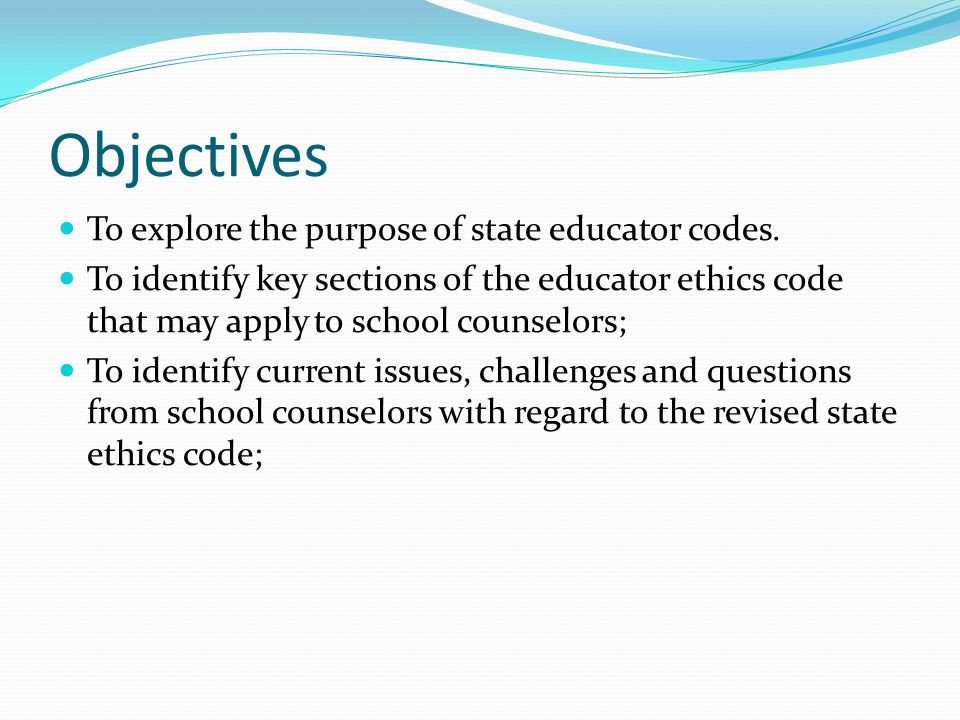 Objectives To explore the purpose of state educator codes.