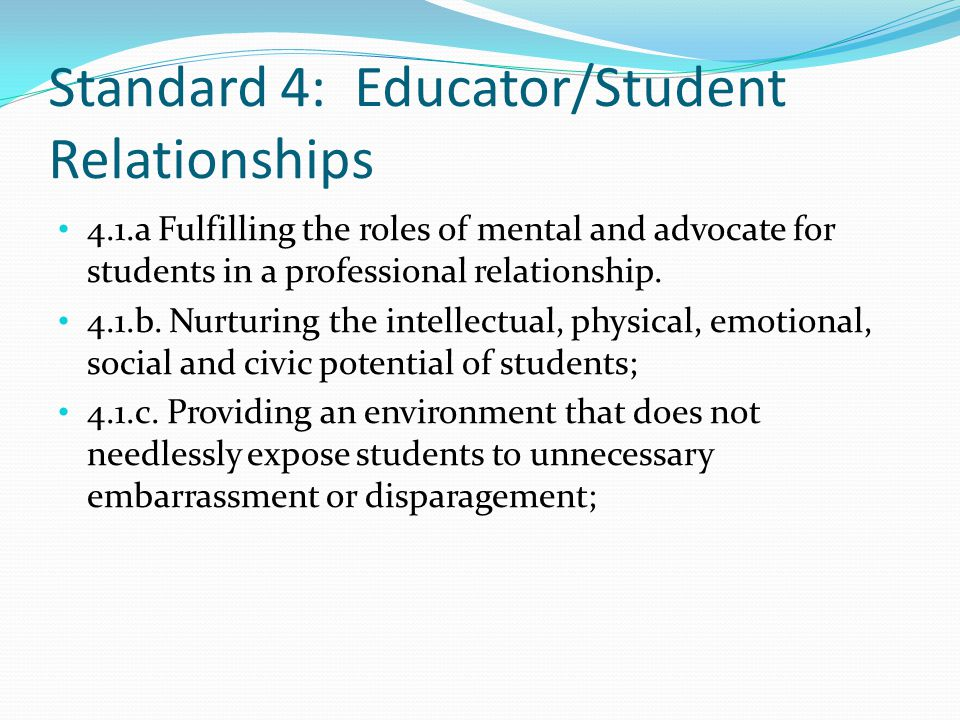 Standard 4: Educator/Student Relationships 4.1.a Fulfilling the roles of mental and advocate for students in a professional relationship. 4.1.b. Nurtu