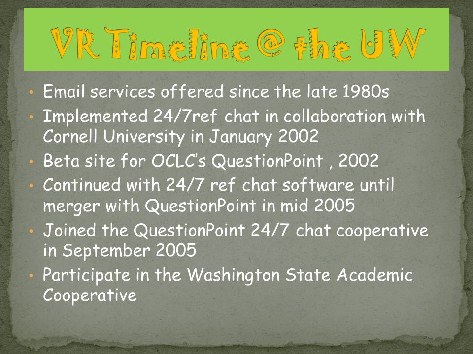 Email services offered since the late 1980s Implemented 24/7ref chat in collaboration with Cornell University in January 2002 Beta site for OCLCs Ques