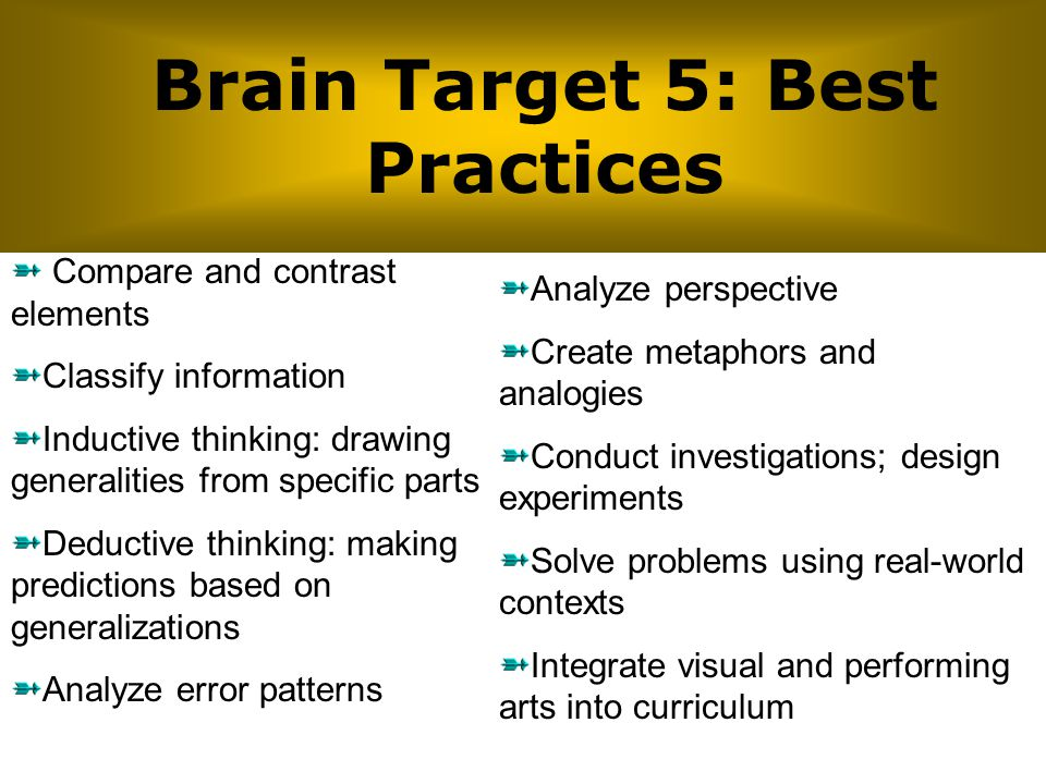 Brain Target 5: Best Practices Compare and contrast elements Classify information Inductive thinking: drawing generalities from specific parts Deducti