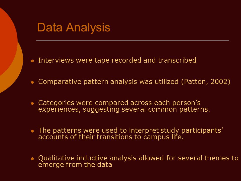 Data Analysis Interviews were tape recorded and transcribed Comparative pattern analysis was utilized (Patton, 2002) Categories were compared across each persons experiences, suggesting several common patterns.