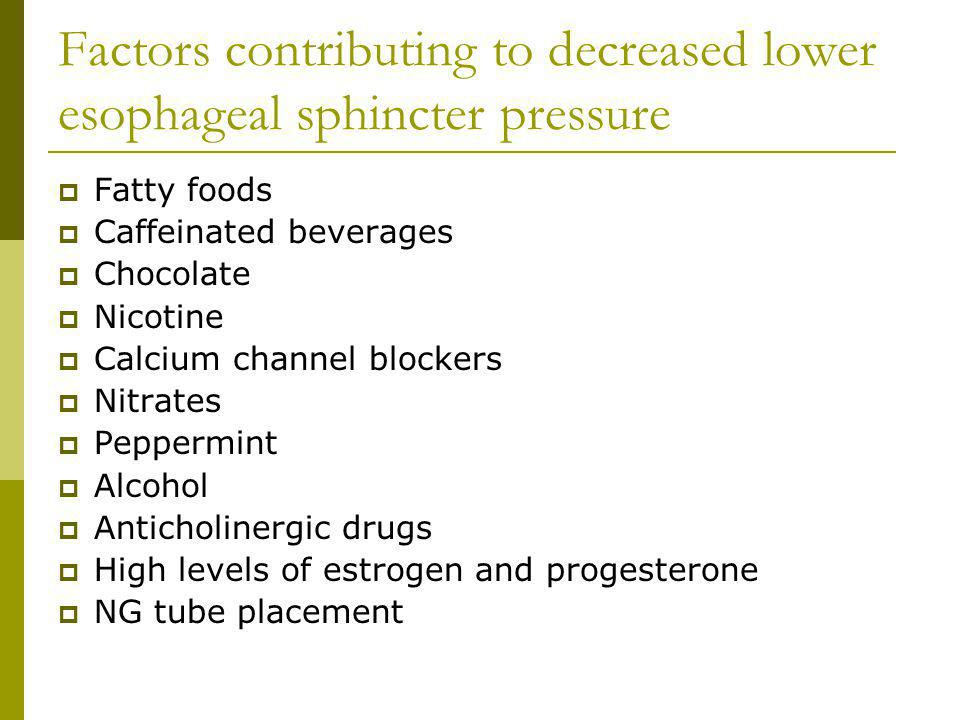 Factors contributing to decreased lower esophageal sphincter pressure Fatty foods Caffeinated beverages Chocolate Nicotine Calcium channel blockers Nitrates Peppermint Alcohol Anticholinergic drugs High levels of estrogen and progesterone NG tube placement