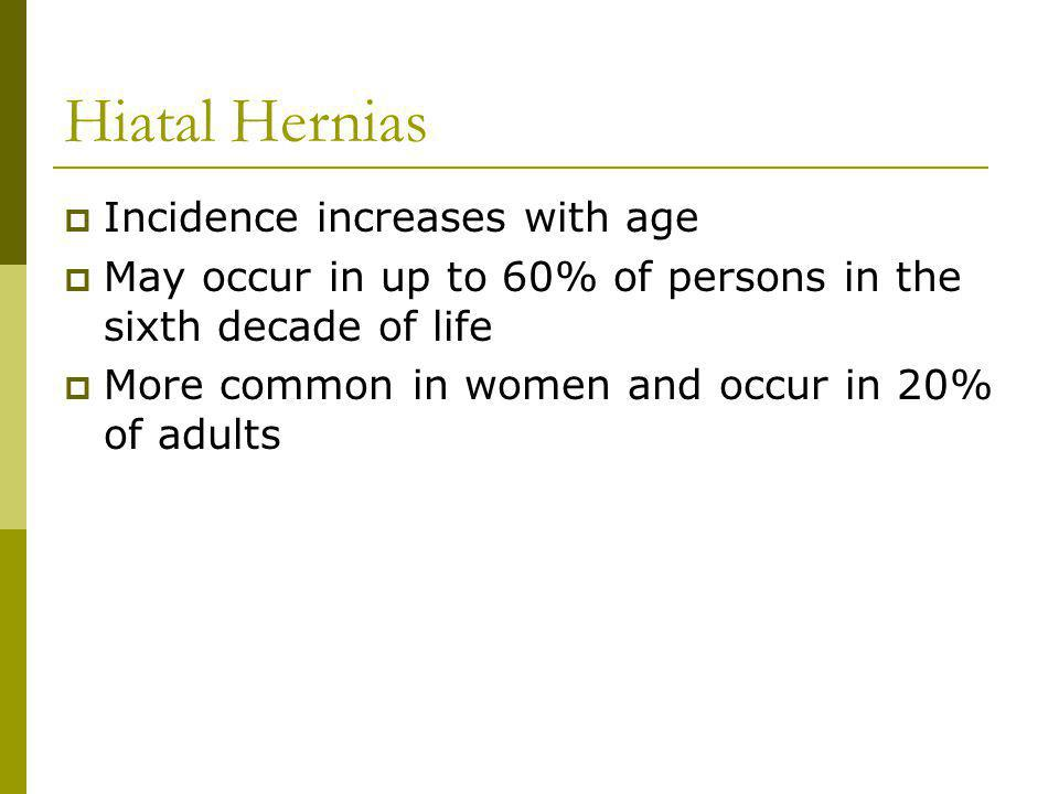 Hiatal Hernias Incidence increases with age May occur in up to 60% of persons in the sixth decade of life More common in women and occur in 20% of adults
