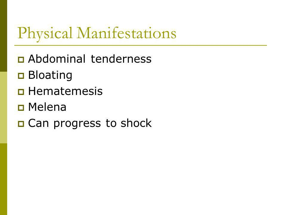 Physical Manifestations Abdominal tenderness Bloating Hematemesis Melena Can progress to shock
