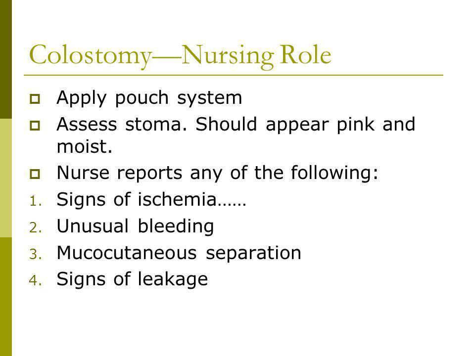 ColostomyNursing Role Apply pouch system Assess stoma.