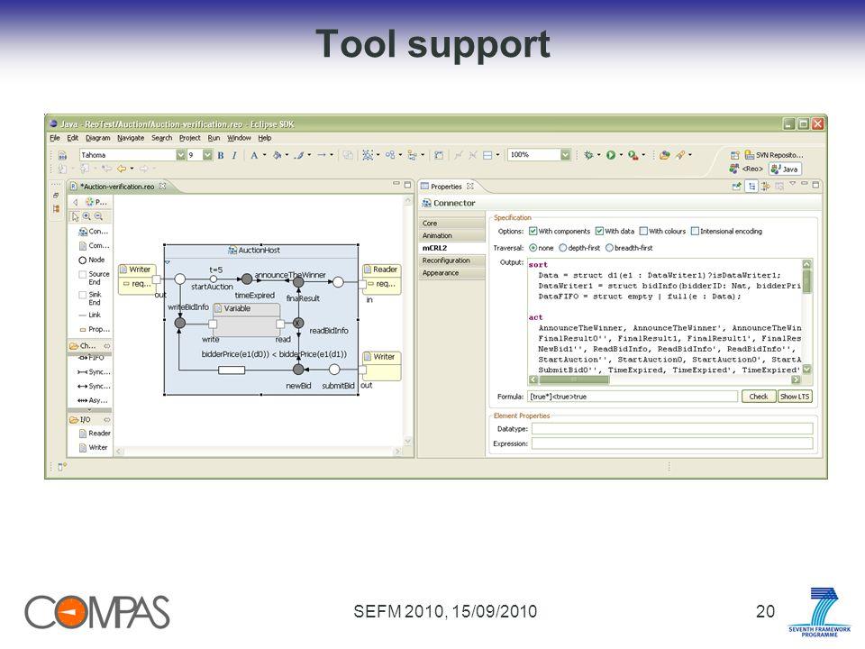 SEFM 2010, 15/09/201020 Tool support