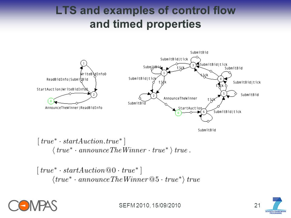 SEFM 2010, 15/09/201021 LTS and examples of control flow and timed properties