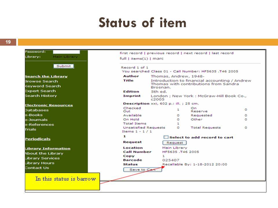 Status of item 19