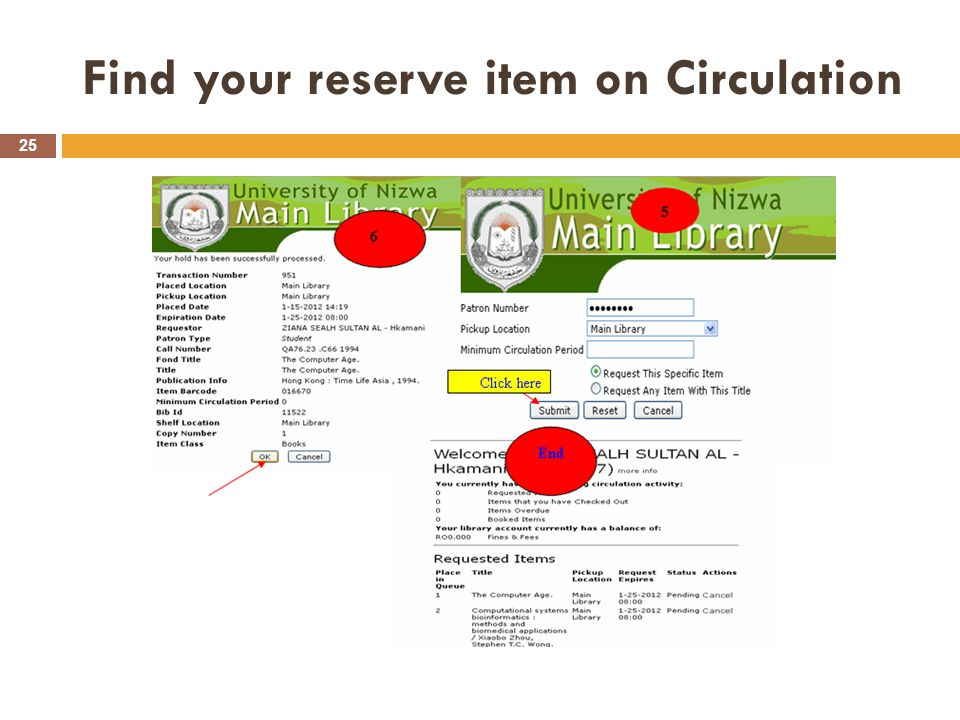 Find your reserve item on Circulation 25