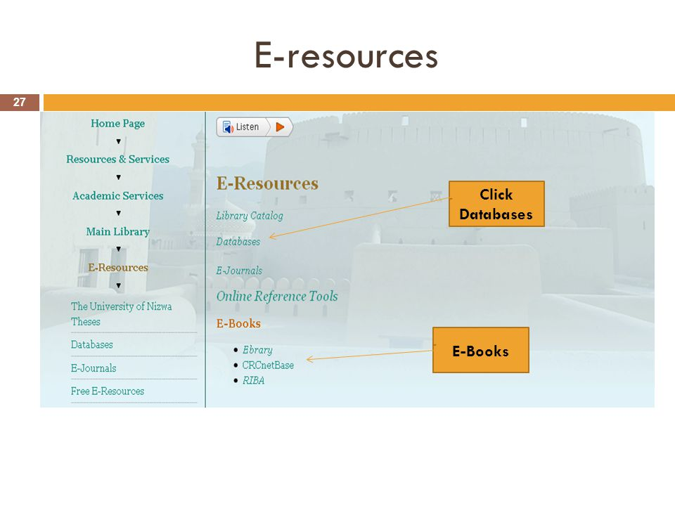 E-resources 27 Click Databases E-Books