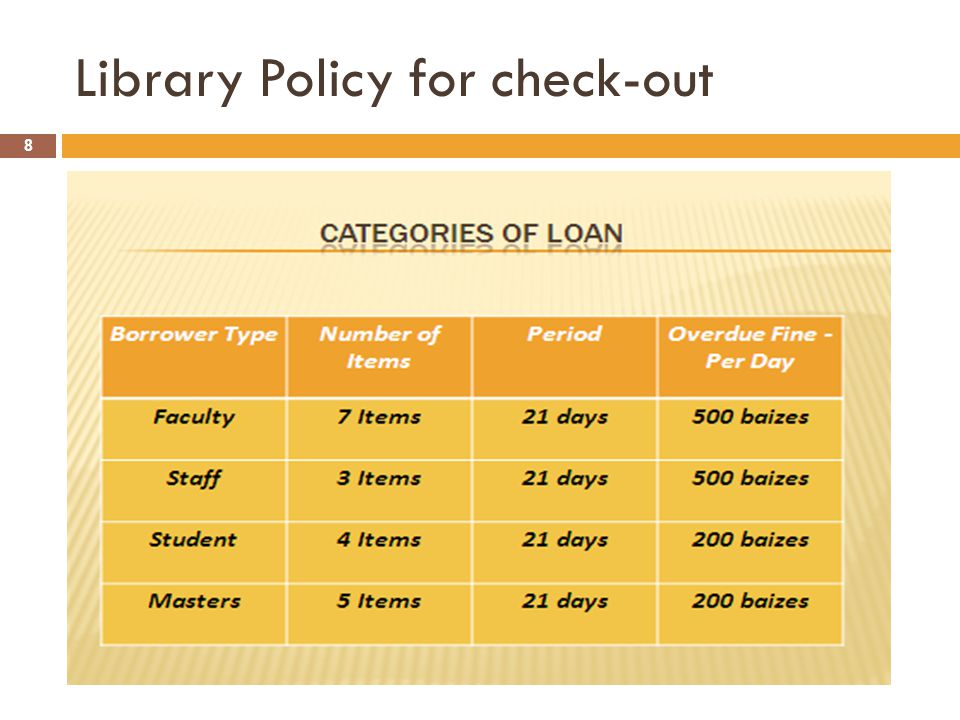 Library Policy for check-out 8