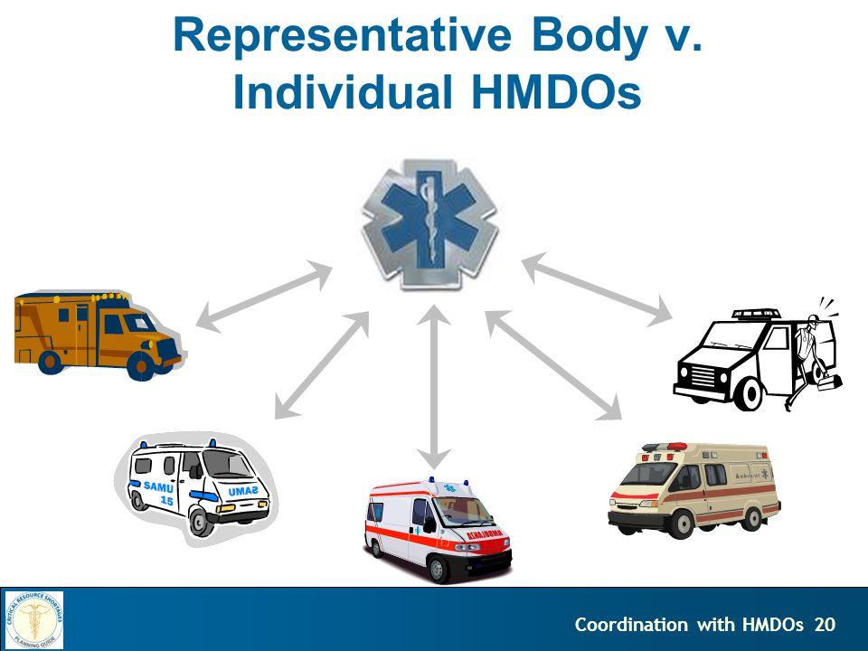 20Coordination with HMDOs Representative Body v. Individual HMDOs