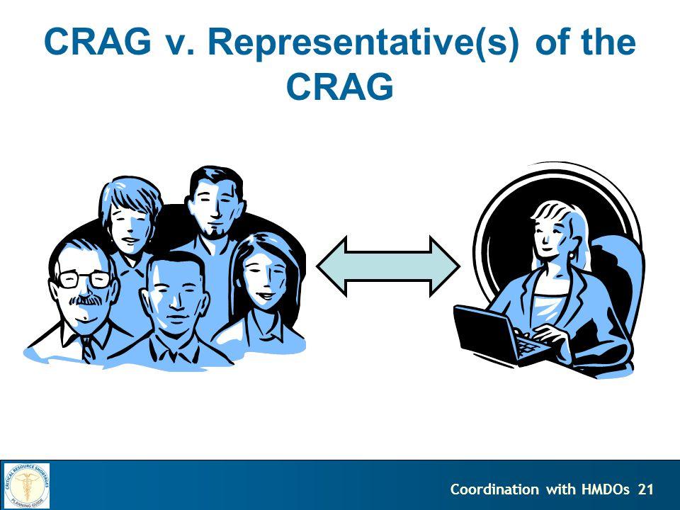 21Coordination with HMDOs CRAG v. Representative(s) of the CRAG