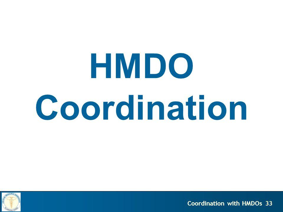 33Coordination with HMDOs HMDO Coordination