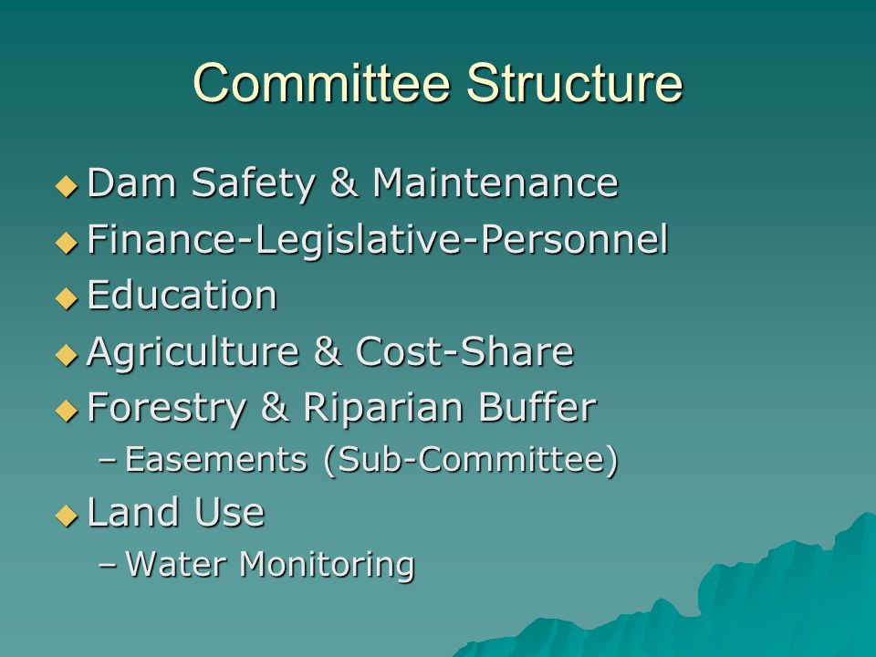 Committee Structure Dam Safety & Maintenance Dam Safety & Maintenance Finance-Legislative-Personnel Finance-Legislative-Personnel Education Education Agriculture & Cost-Share Agriculture & Cost-Share Forestry & Riparian Buffer Forestry & Riparian Buffer –Easements (Sub-Committee) Land Use Land Use –Water Monitoring