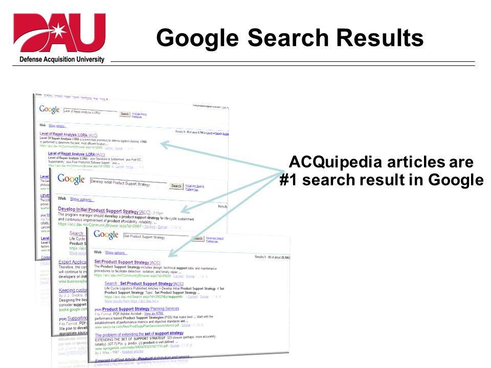 Google Search Results ACQuipedia articles are #1 search result in Google