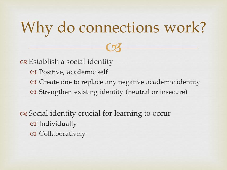 Establish a social identity Positive, academic self Create one to replace any negative academic identity Strengthen existing identity (neutral or inse