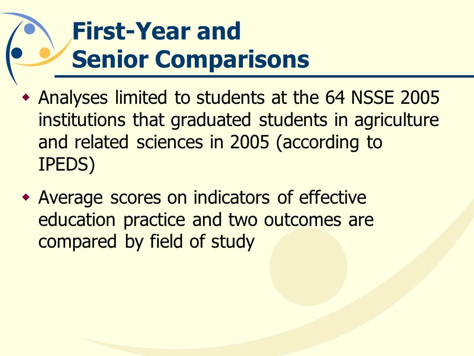 First-Year and Senior Comparisons Analyses limited to students at the 64 NSSE 2005 institutions that graduated students in agriculture and related sciences in 2005 (according to IPEDS) Average scores on indicators of effective education practice and two outcomes are compared by field of study
