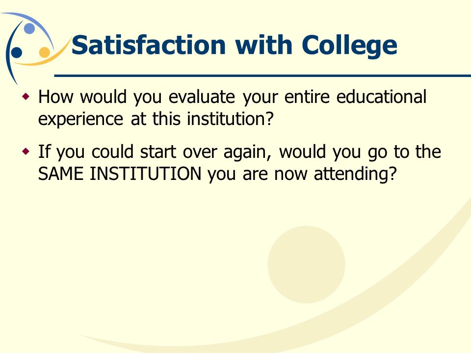Satisfaction with College How would you evaluate your entire educational experience at this institution.