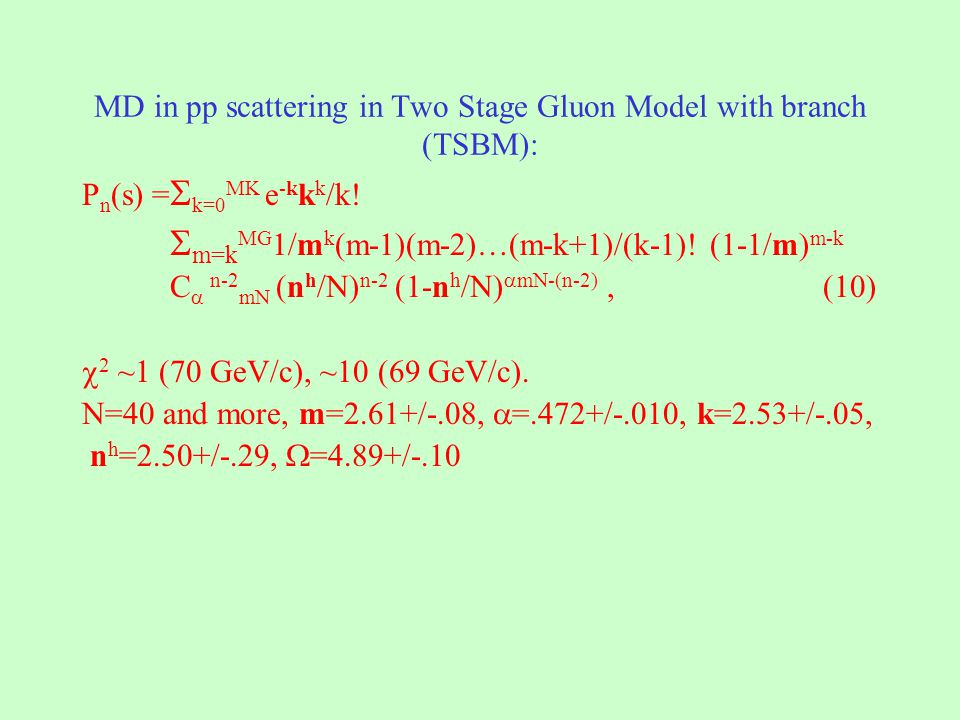 MD in pp scattering in Two Stage Gluon Model with branch (TSBM): P n (s) = k=0 MK e -k k k /k.