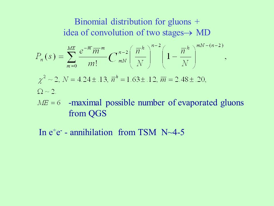 Binomial distribution for gluons + idea of convolution of two stages MD -maximal possible number of evaporated gluons from QGS In e + e - - annihilati